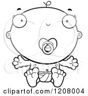 Cartoon Of A Black And White Baby Boy Infant With A Pacifier Royalty Free Vector Clipart