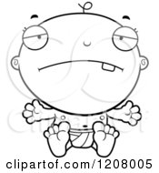 Cartoon Of A Black And White Depressed Baby Boy Infant Royalty Free Vector Clipart