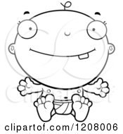 Cartoon Of A Black And White Sitting Happy Baby Boy Infant Royalty Free Vector Clipart