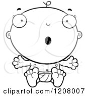Cartoon Of A Black And White Surprised Baby Boy Infant Royalty Free Vector Clipart