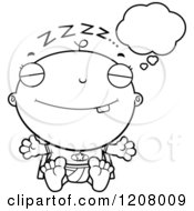 Cartoon Of A Black And White Dreaming Super Infant Baby Boy Royalty Free Vector Clipart