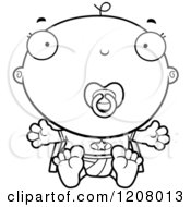 Cartoon Of A Black And White Super Infant Baby Boy With A Pacifier Royalty Free Vector Clipart by Cory Thoman