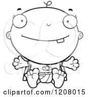 Cartoon Of A Black And White Happy Super Infant Baby Boy Royalty Free Vector Clipart by Cory Thoman
