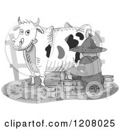 Cartoon Of A Farmer Milking A Dairy Cow Royalty Free Vector Clipart by BNP Design Studio