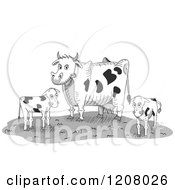 Cartoon Of A Dairy Cow And Two Calves On A Farm Royalty Free Vector Clipart