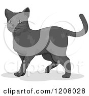 Cartoon Of A Cute Russian Blue Cat Royalty Free Vector Clipart