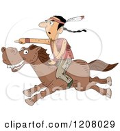 Cartoon Of A Native American Man Pointing And Riding On A Horse Royalty Free Vector Clipart