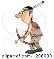 Cartoon Of A Native American Man Archer Royalty Free Vector Clipart by BNP Design Studio