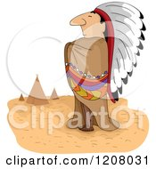 Cartoon Of A Native American Man Chief And Tipis Royalty Free Vector Clipart