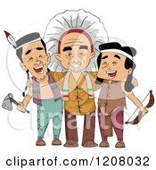 Cartoon Of A Group Of Native American Men From Different Tribes Royalty Free Vector Clipart