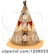 Cartoon Of A Native American Family Peeking Out From An Opening Of A Teepee Royalty Free Vector Clipart by BNP Design Studio