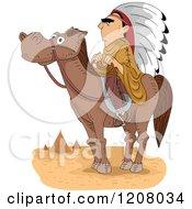 Cartoon Of A Native American Man Chief On Horseback Royalty Free Vector Clipart
