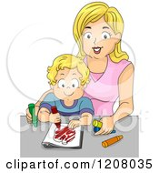 Blond Caucasian Mother Coloring With Her Toddler Son