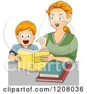 Cartoon Of A Red Haired Caucasian Mother Reading To Her Son Royalty Free Vector Clipart