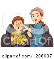 Cartoon Of A Shocked Brunette Caucasian Mother Covering Her Sons Eyes While Watching Tv Royalty Free Vector Clipart