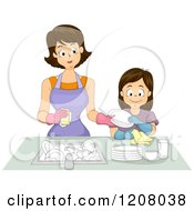 Cartoon Of A Brunette Caucasian Mother And Daughter Washing Dishes Together Royalty Free Vector Clipart