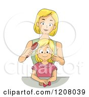 Cartoon Of A Blond Caucasian Mother Brushing Her Daughters Hair Royalty Free Vector Clipart