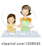 Cartoon Of A Brunette Caucasian Mother And Daughter Setting A Table Together Royalty Free Vector Clipart