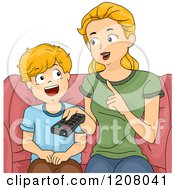 Cartoon Of A Blond Caucasian Mother Discussing Television With Her Son Royalty Free Vector Clipart