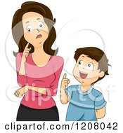 Cartoon Of A Brunette Caucasian Mother Thinking About Her Sons Questions Royalty Free Vector Clipart