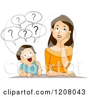 Cartoon Of A Brunette Caucasian Mother And Her Son Asking A Lot Of Questions Royalty Free Vector Clipart