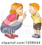 Cartoon Of A Red Haired Caucasian Mother Lecturing Her Son Royalty Free Vector Clipart by BNP Design Studio