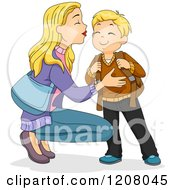 Cartoon Of A Blond Caucasian Mother Kissing Her Son And Sending Him Off To School Royalty Free Vector Clipart