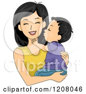 Cartoon Of A Happy Mother Receiving A Kiss From Her Baby Boy Royalty Free Vector Clipart