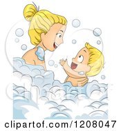 Cartoon Of A Blond Caucasian Mother Bathing With Her Baby Boy Royalty Free Vector Clipart