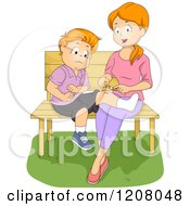 Cartoon Of A Red Haired Caucasian Mohter Bandaging Her Sons Injured Knee Royalty Free Vector Clipart