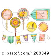 Cartoon Of Party Decorations And Banner Flags Royalty Free Vector Clipart by BNP Design Studio
