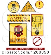 Cartoon Of Caution And Warning Danger Designs Royalty Free Vector Clipart