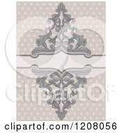 Cartoon Of A Vintage Baroque Frame Over Polka Dots Royalty Free Vector Clipart