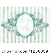 Cartoon Of A Vintage Baroque Frame Over Pastel Blue Stripes Royalty Free Vector Clipart