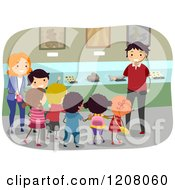 Cartoon Of A Man Talking To Kids In A Museum Royalty Free Vector Clipart