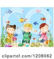 Cartoon Of Happy Children Waving Through A Fish Aquarium Royalty Free Vector Clipart by BNP Design Studio