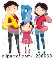 Cartoon Of A Happy Family Holding Abc Letters Royalty Free Vector Clipart