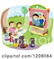 Cartoon Of A Happy Family Enjoying A Puppet Show Royalty Free Vector Clipart