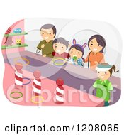 Cartoon Of A Happy Family Playing A Carnival Ring Toss Game Royalty Free Vector Clipart by BNP Design Studio