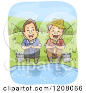 Cartoon Of A Happy Middled Aged Man And Senior Father Fishing Royalty Free Vector Clipart