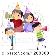 Cartoon Of A Happy Birthday Party Family With A Sign Royalty Free Vector Clipart