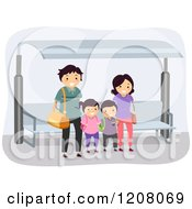 Cartoon Of A Happy Family Waiting At A Bus Stop Royalty Free Vector Clipart by BNP Design Studio