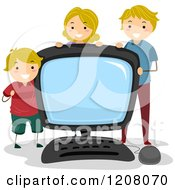 Cartoon Of A Happy Caucasian Family With A Giant Desktop Computer Royalty Free Vector Clipart