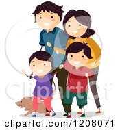 Cartoon Of A Happy Family Waving With Their Dog Royalty Free Vector Clipart