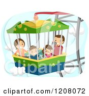 Cartoon Of A Happy Family On A Ferris Wheel Ride Royalty Free Vector Clipart by BNP Design Studio