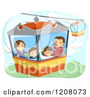 Cartoon Of A Happy Family On An Aerial Ride Royalty Free Vector Clipart by BNP Design Studio