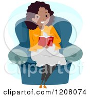 Cartoon Of A Happy Black Pregnant Woman Reading In A Chair Royalty Free Vector Clipart