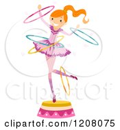 Cartoon Of A Circus Girl Perfoming With Hoops Royalty Free Vector Clipart