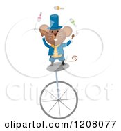 Cartoon Of A Circus Mouse Juggling On A Unicycle Royalty Free Vector Clipart