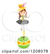 Cartoon Of A Circus Girl Balancing On A Ball Royalty Free Vector Clipart